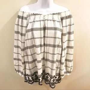 Chaps Embroidered Peasant Top White Black Large